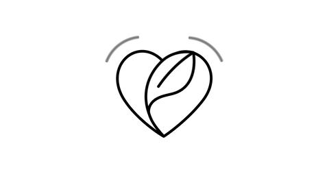 Heart Leaf line icon on the Alpha Channel Animation