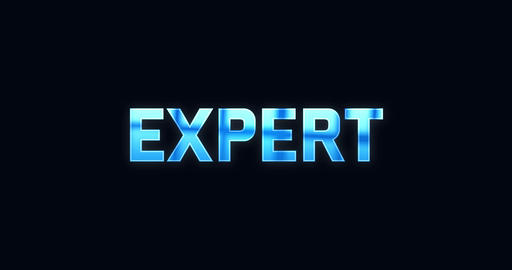 Expert. Electric lightning word. Text Animation Animation