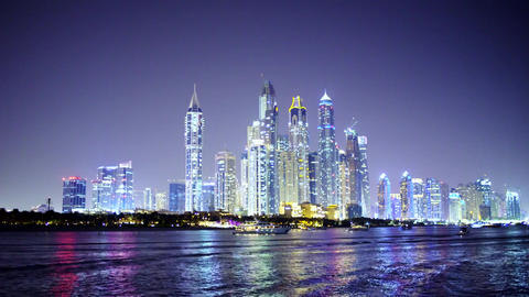 Night Dubai Downtown Skyline Wake Waves Made By Floating Boat Real Time Footage Anchored Yachts Live Action