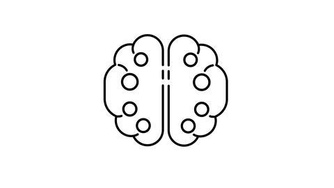 Brain line icon on the Alpha Channel Animation