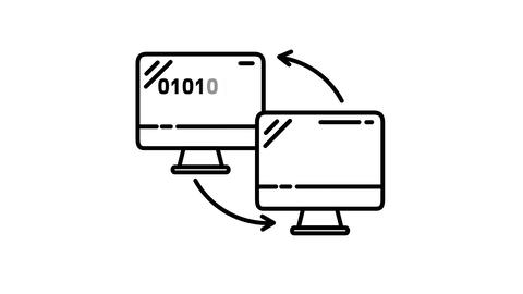 Computer Connection line icon on the Alpha Channel Animation