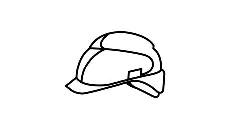 Safety Helmet line icon on the Alpha Channel Animation