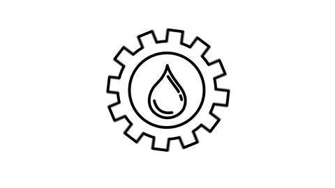 Oil and Gearwheel line icon on the Alpha Channel Animation