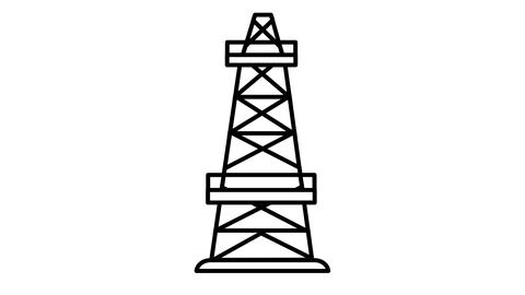 Oil Tower line icon on the Alpha Channel Animation