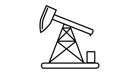 Oil Pumpjack line icon on the Alpha Channel Animation
