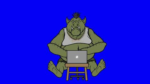 Animated Internet Troll Trolling On Blue Screen Animation