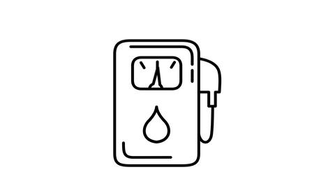 Gas Station line icon on the Alpha Channel Animation