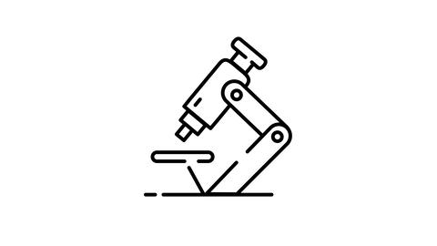 Microscope line icon on the Alpha Channel Animation
