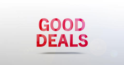 Good Deals. Particle Logo. Red Text Animation Animation