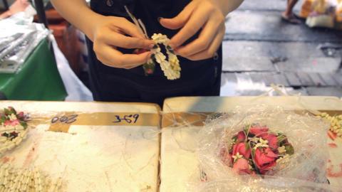 Making Thai Flower Garlands Footage