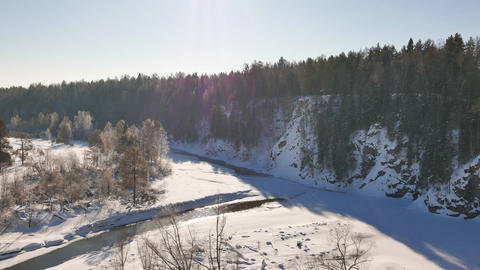 Winter landscape. Serga River, Ural, Russia Footage