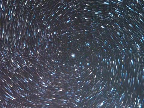 Stars like meteors in screw spiral. Zoom. TimeLapse. Short tail Footage
