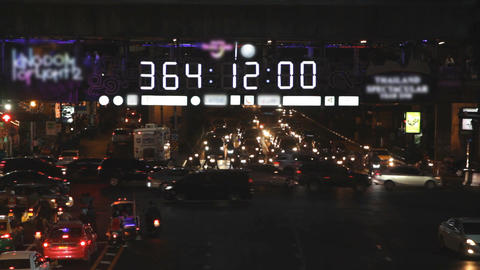 New Year Countdown Clock In City Footage