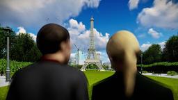 Eiffel Tower in Paris, romantic couple Animation