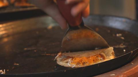 Chef Preparing Thai Crepe Footage