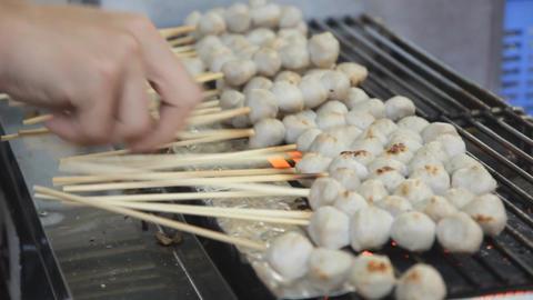 Porkballs Sticks On Grill Footage
