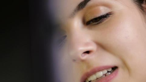 closeup portrait of young woman talking in chat Footage