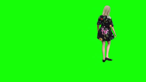 887 4K LIFE IN MASK 3D animated girl in mask walks around in a cirlce Animation