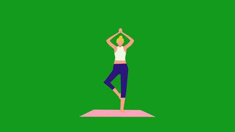 Animation of woman doing yoga with green screen background Animation