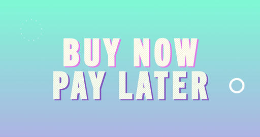 Buy now pay later. Retro Text Animation Animation
