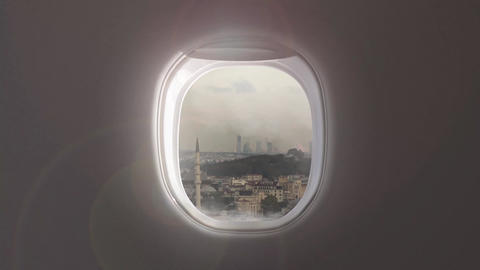 Video of cityscape of historical part of Istanbul, Turkey from porthole inside Live Action