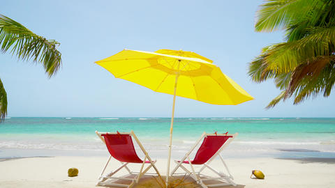 Summer tourists vacation on Mexico sunny beach background. Virgin clear paradise palm island beach Live Action