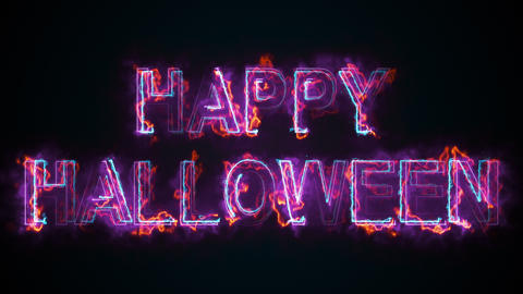 The text Happy Halloween, computer generated. Burning inscription. Capital Animation