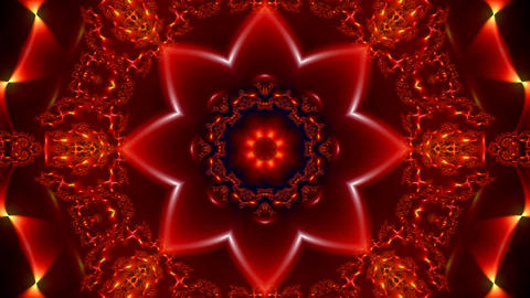 animation of a bright red abstract background with various fractal ornaments Animation