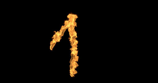 Burning number one on a transparent background Animation