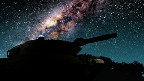 tank and Milky Way stars at night. Elements of this image furnished by NASA Animation