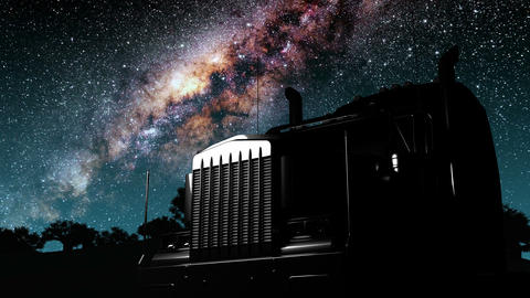 lorry truck and Milky Way stars at night Animation