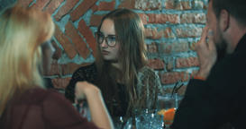 Young woman friends bar 4k video. People talking, funny girl Footage