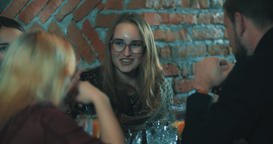Woman talking friends at bar 4k video. People at cafe Footage
