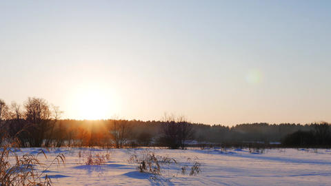 Snowy field. Sunset. Russia Footage