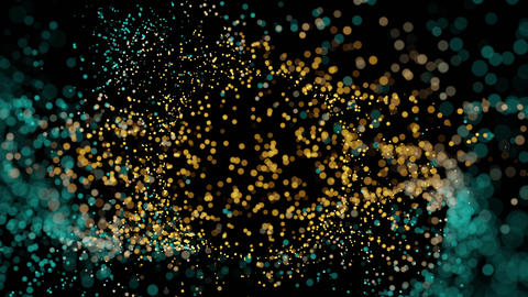 Abstract Motion Background With Yellow And Cyan Particles Animation