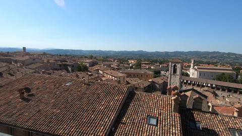 views of gubbio from piazza grande panoramic view Live Action