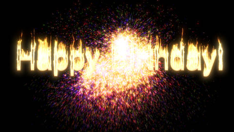 Fire Happy birthday firework on black Light banner Live Action