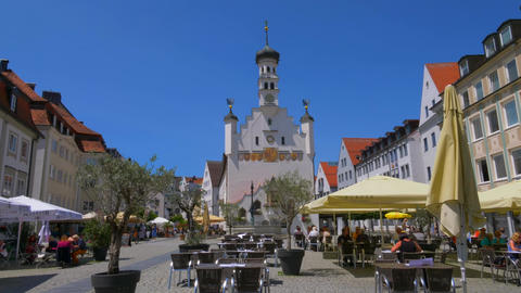 Town hall in Kempten, Allgaeu, Bavaria, Germany Live Action