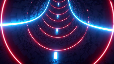 3D Abstract Neon Circles Tunnel VJ Loop Motion Background CG動画