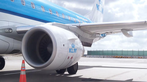 Klm airlines plane ready for lift off in airport runway,amsterdam dutch Live Action