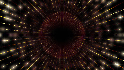 Illumination Glitter Tunnel Neon Space Star Particles Light LED abstract background Gold a Animation