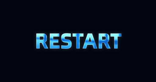 Restart. Electric lightning word. Text Animation Animation