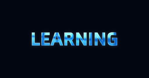 Learning. Electric lightning word. Text Animation Animation
