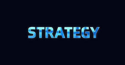 Strategy. Electric lightning word. Text Animation Animation