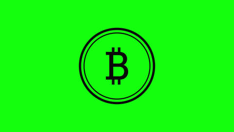 green screen 3d cryptocurrency icon bitcoin flat green screen golden cryptocurrency golden icon Animation