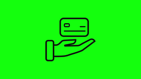 Transparent black card pay credit green screen pay hand pay card icon credit icon hand icon card Animation