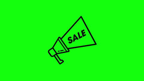 sale label megaphone loud label icon label sale promotion megaphone promotion icon sale green screen Animation
