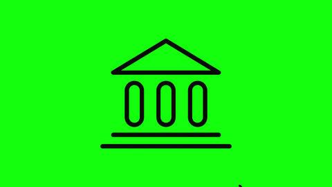 Transparent black government icon politics icon building icon flat politics flat building flat Animation