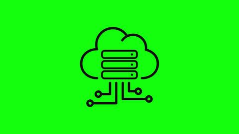 cloud icon server icon hosting icon cloud database server database hosting database cloud green Animation