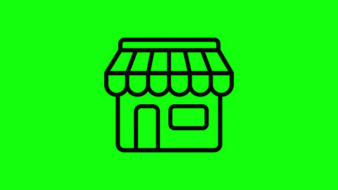 Transparent black shop local store local market local shop icon store icon market icon shop flat Animation